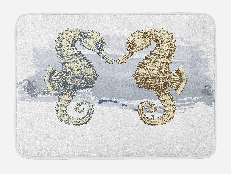 Ambesonne Animal Bath Mat, Seahorse Lovers in Paintbrush Artisan Technique Grunge Splash on Background, Plush Bathroom Decor Mat with Non Slip Backing, 29.5 X 17.5, Cream Grey