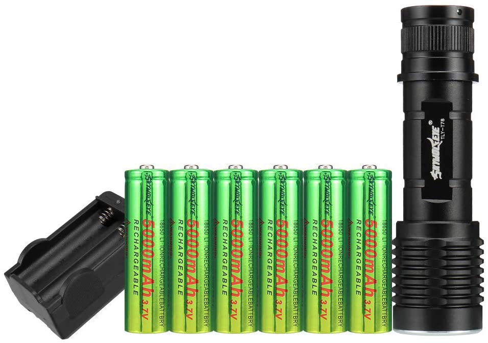 Skywolfeye LED 1800 Lumen 18650 Flashlight with 6PCS 3.7V High Capacity Rechargeable Battery and Charger,Ultra Bright Adjustable Focus and 5 Modes for Camping Hiking