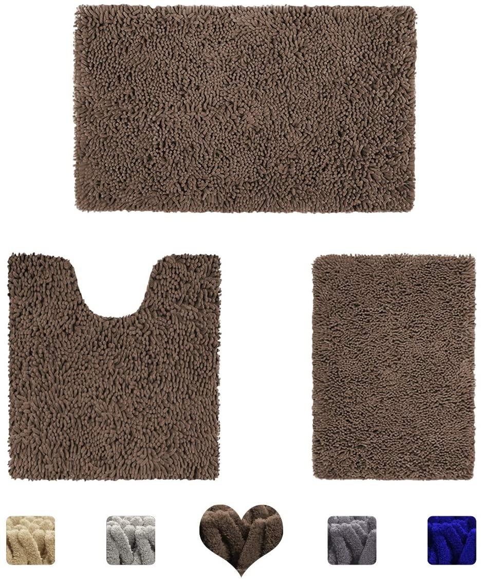 HOMEIDEAS 3 Pieces Bathroom Rugs Set Brown, Luxury Soft Chenille Bath Mats Set, Absorbent Shaggy Bath Rugs & Slip Resistant Plush Carpets Mats for Tub, Shower, Bathroom