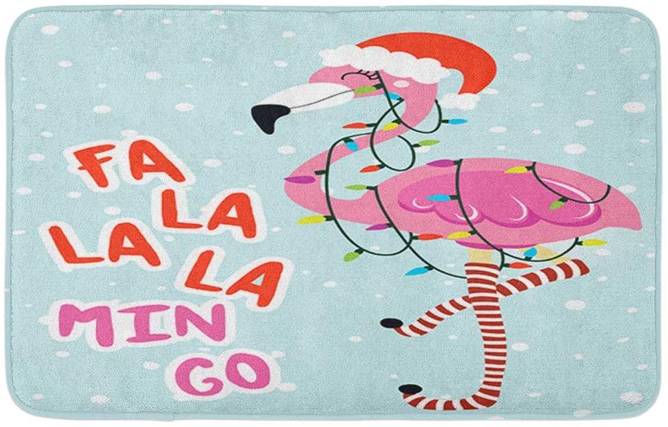 Adowyee Bath Mat FA La Min Go Calligraphy Phrase for Christmas with Cute Flamingo Girl Hand Drawn Cozy Bathroom Decor Bath Rug with Non Slip Backing 20