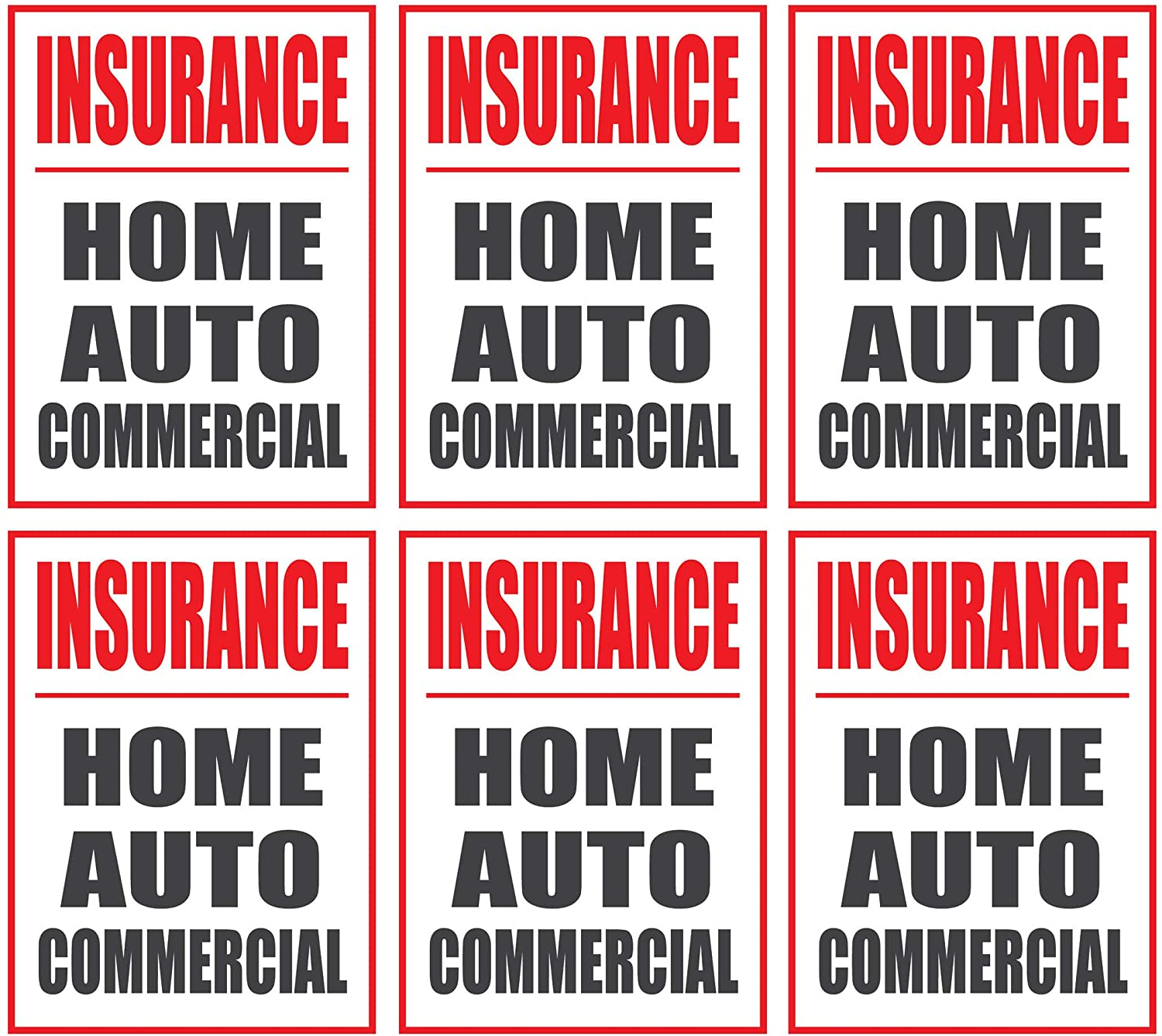 Insurance, Home Auto Commercial | Large Store Window/Wall Retail Display Paper Signs | Red and Black on White | 18