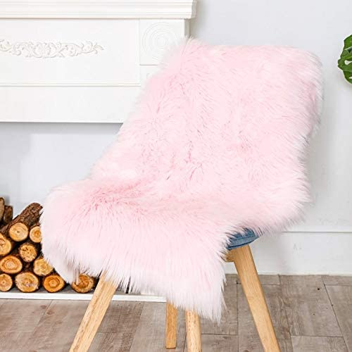 Carvapet Luxury Soft Faux Sheepskin Chair Cover Seat Cushion Pad Plush Fur Area Rugs for Bedroom, 2ft x 3ft, Pink