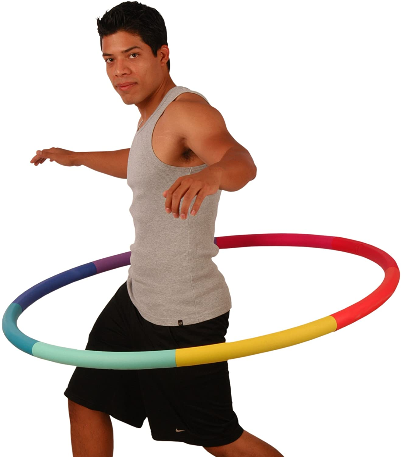 Sports Hoop Weighted Hoop, Weight Loss Trim Hoop 3B - 3.1lb (41 inches Wide) Large, Weighted Fitness Exercise Hoop with No Wavy Ridges (Rainbow)