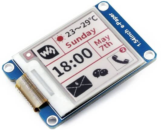 Waveshare 1.54inch E-Ink Display Module Three-Color SPI Interface 200x200 Resolution E-Paper with Embedded Controller for Raspberry Pi
