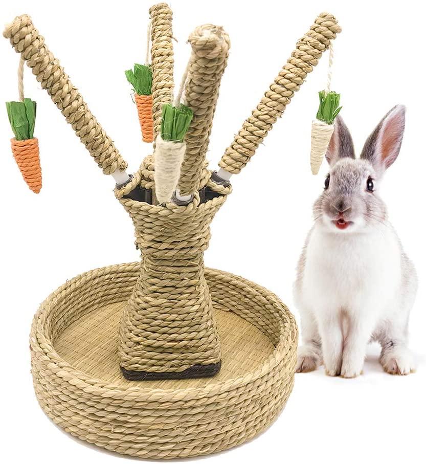 Hamiledyi Rabbit Bunny Chew Toys Rattan Grass Scratcher Climbing Tree Fun Tree Carrot Play Toys for Small Animal