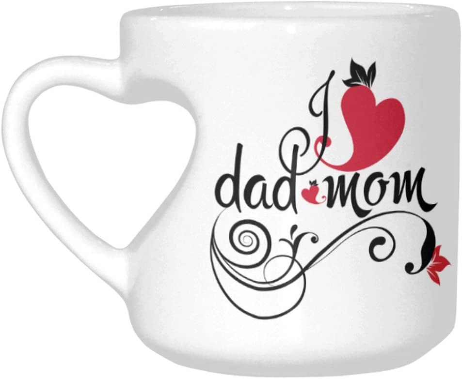 InterestPrint I Love Dad and Mom Vintage Love Heart Flower Leaves Heart-shaped Coffee Travel Mug Cup, White Ceramic Funny Mug for Women Mom Mother's Day, 10.3 Ounce