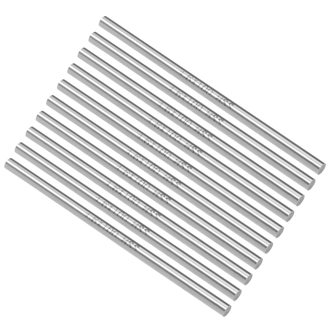 uxcell Round Steel Rod, 4.6mm HSS Lathe Bar Stock Tool 100mm Long, for Shaft Gear Drill Lathes Boring Machine Turning Miniature Axle, Cylindrical Pin DIY Craft Tool, 10pcs