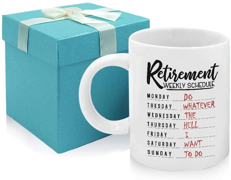 Tom Boy Retirement Gifts for Women Men Coworker Retirement Weekly Schedule Coffee Mug 11oz Retired Gift Idea Present