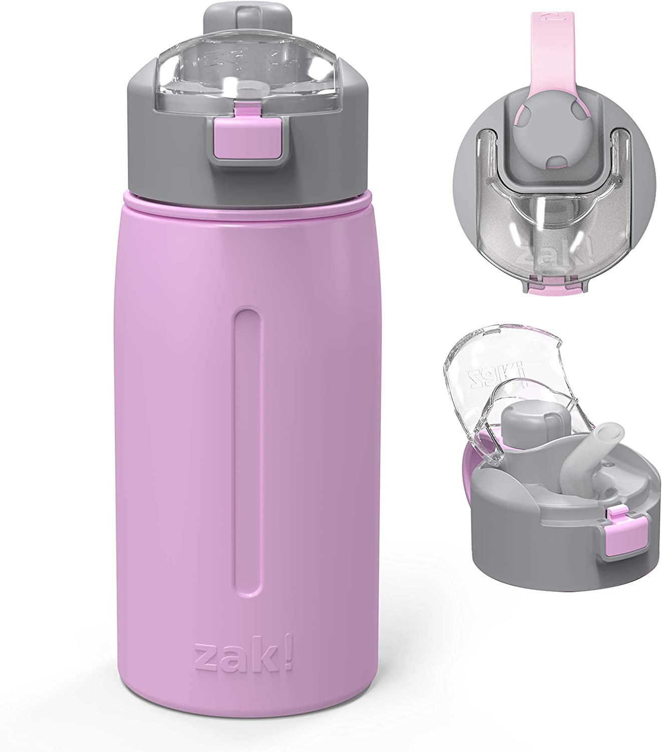 Zak Designs Genesis with 2-In-1 Lid and Leak-Proof Design Double-Wall Vacuum-Insulated Stainless Steel Water Bottle, Includes Portable Carry Strap (18oz, Lilac, 18/8 SS, BPA-Free)