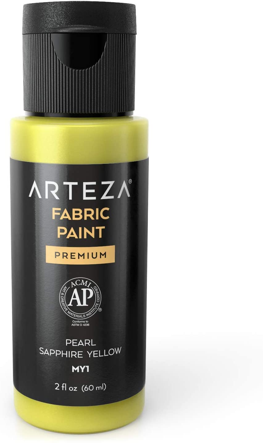 Arteza Permanent Fabric Paint MY1 Pearl Sapphire Yellow, 60 ml Bottle, Washer & Dryer Safe, Textile Paint for Clothes, T-Shirts, Jeans, Bags, Shoes, DIY Projects & Canvas