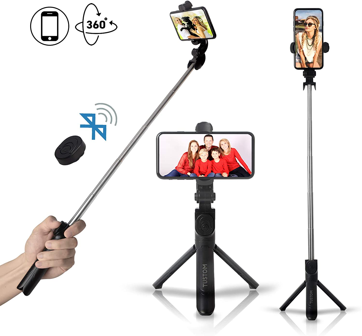 TUSTOM Tripod for Phone and Camera – Selfie Stick Bluetooth Compatible with iPhone and Android – 360-Degree Rotation Phone Stand – Wireless Remote – Ideal for Vloggers, Live Streaming (Black)
