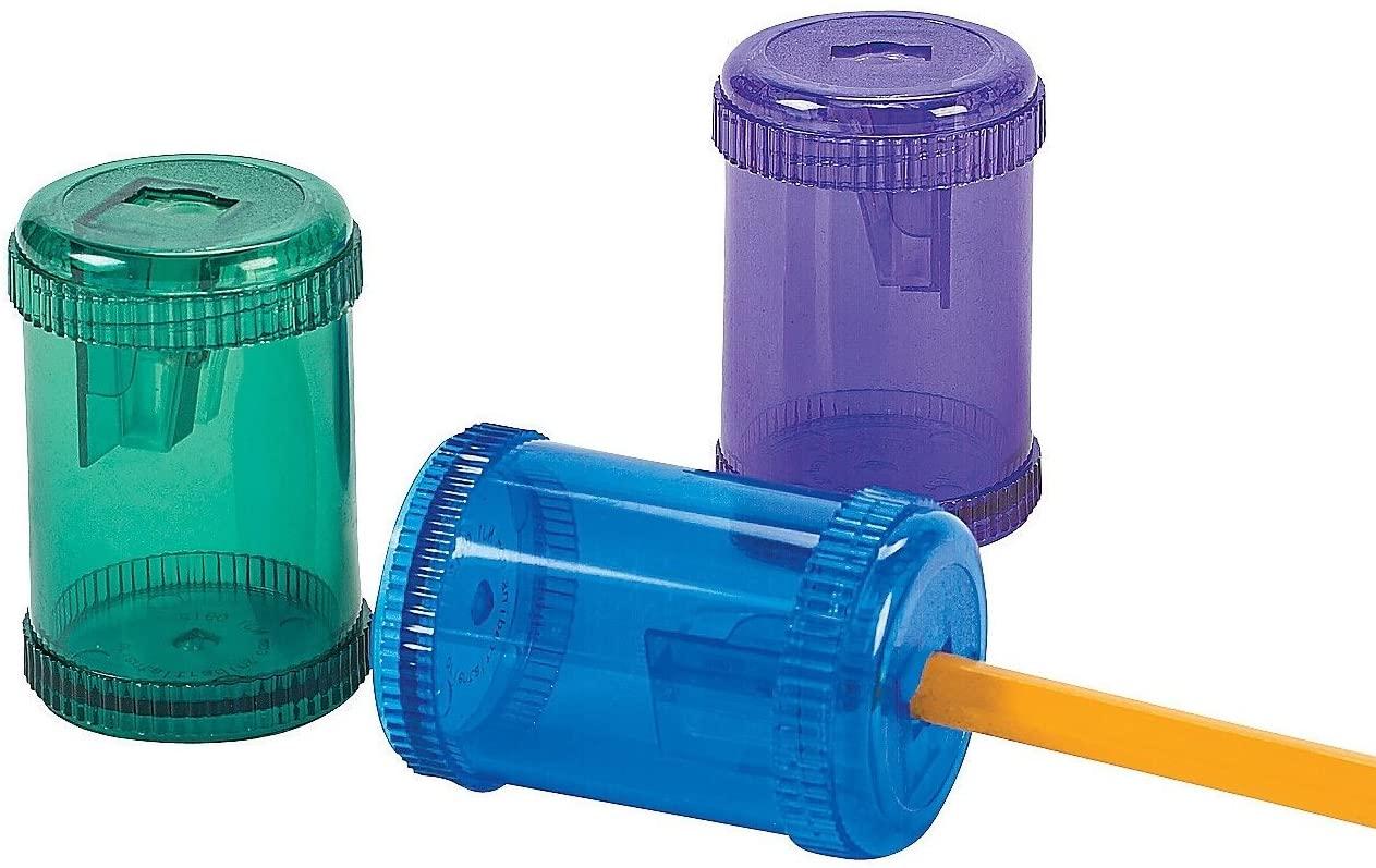 Fun Express Barrel-Shaped Pencil Sharpeners (12 Pieces) Plastic. 2 1/8