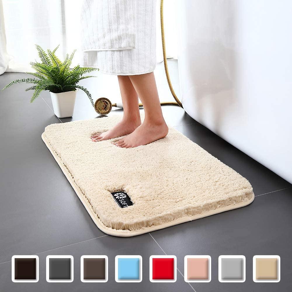 Carvapet Non-Slip Bathroom Rug High Water Absorbent Bath Mat Microfiber Soft Plush Shaggy Mat, 20 by 32 inches, Beige