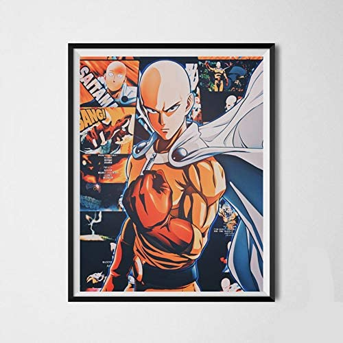 One Punch Man Hero of Saitama Original Anime Canvas Art Print for Bedroom Decoration,8 x 10 Inches,No Frame