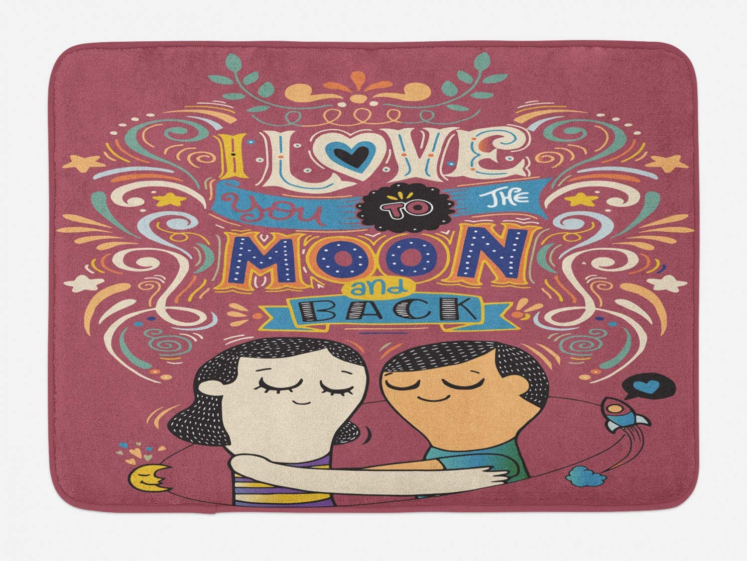 Lunarable Valentines Day Bath Mat, I Love You to The Moon and Back Hand Drawn Words with a Romantic Couple, Plush Bathroom Decor Mat with Non Slip Backing, 29.5