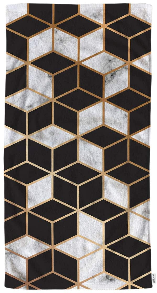oFloral Marble Gradient Cubes Hand Towels Cotton Washcloths,Modern Luxurious Marbling Surface Design with Golden Lines Black White Soft Towels for Bath/Kitchen/Yoga/Hair/Face Towel 15X30 Inch