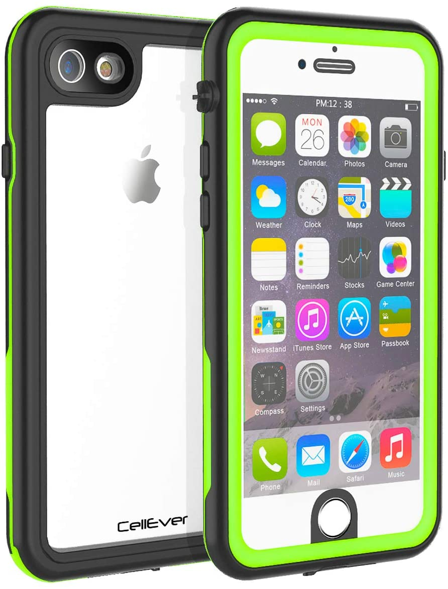 CellEver iPhone 6 / 6s Waterproof Case Shockproof IP68 Certified SandProof Snowproof Full Body Protective Clear Transparent Cover Fits Apple iPhone 6 and iPhone 6s (4.7 Inch) KZ Lime Green