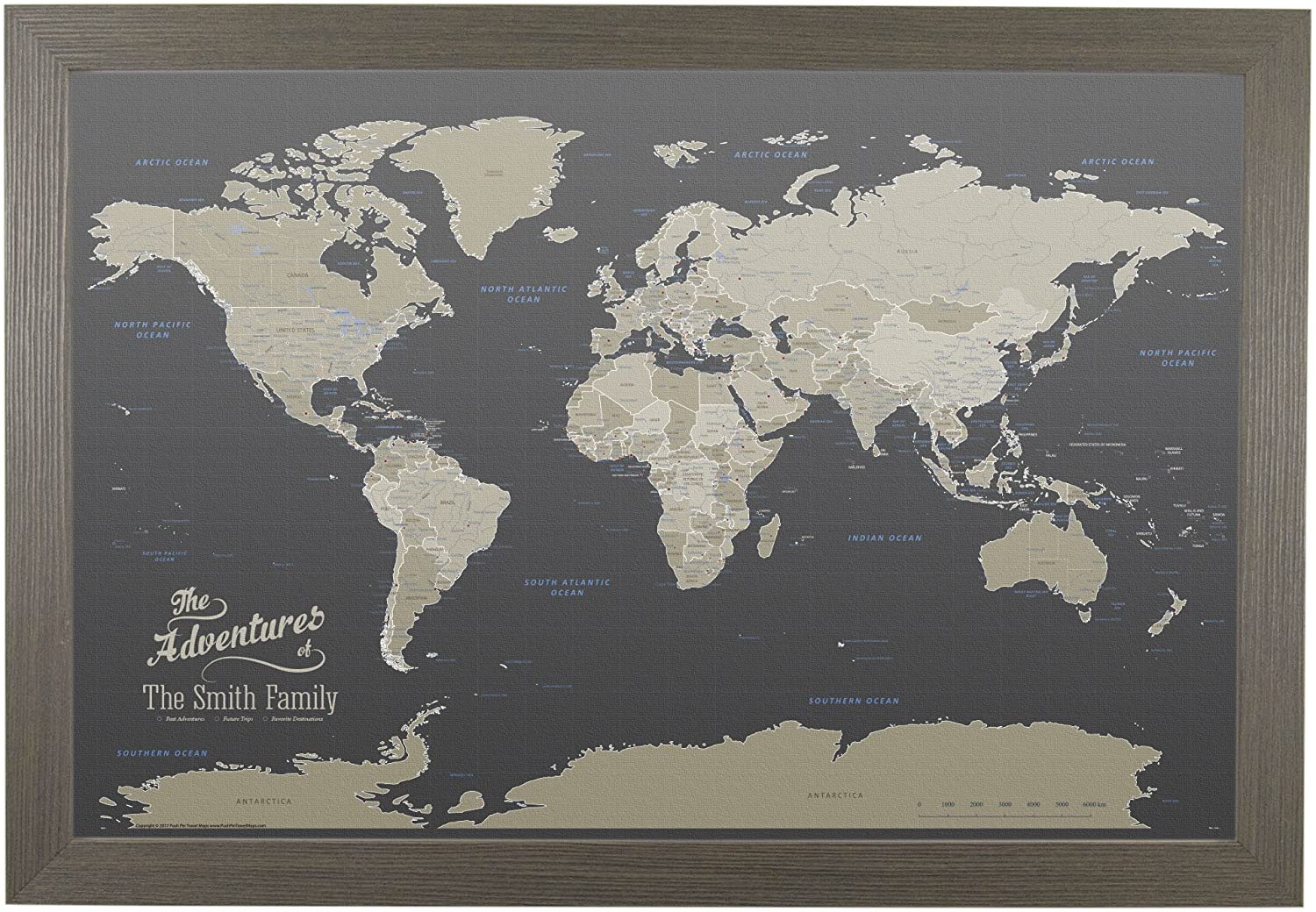 Push Pin Travel Maps Canvas - Personalized Earth Toned World with Barnwood Gray Frame