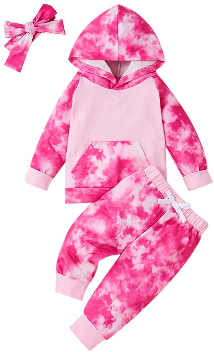 3PCS Baby Toddler Girls Tie Dye Long Sleeve Hoodie and Pants with Headband Outfits