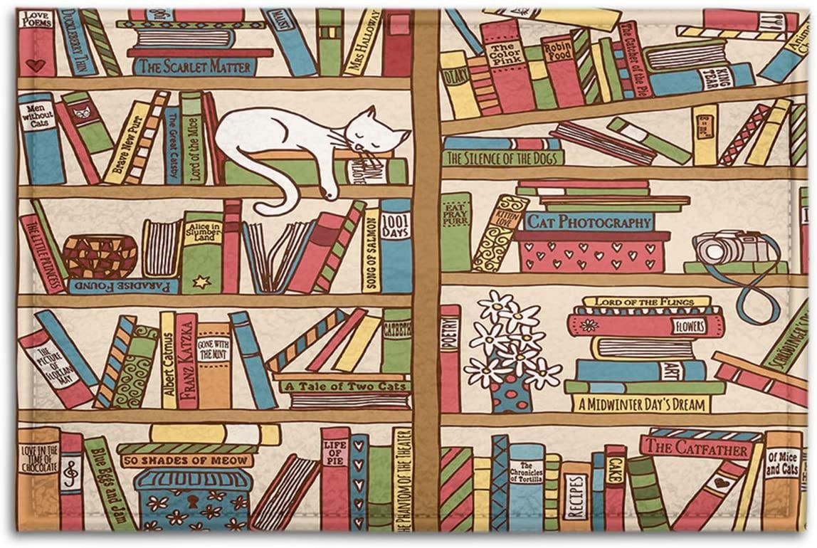 BJOLEdS Bookshelf Indoor Outdoor Doormats Library Bookshelf with Cosy Sleeping Cat Box Camera Flowers Decorative Non Slip Entrance Floor Mats Bathroom Kitchen Areas Shoe Rugs, 18