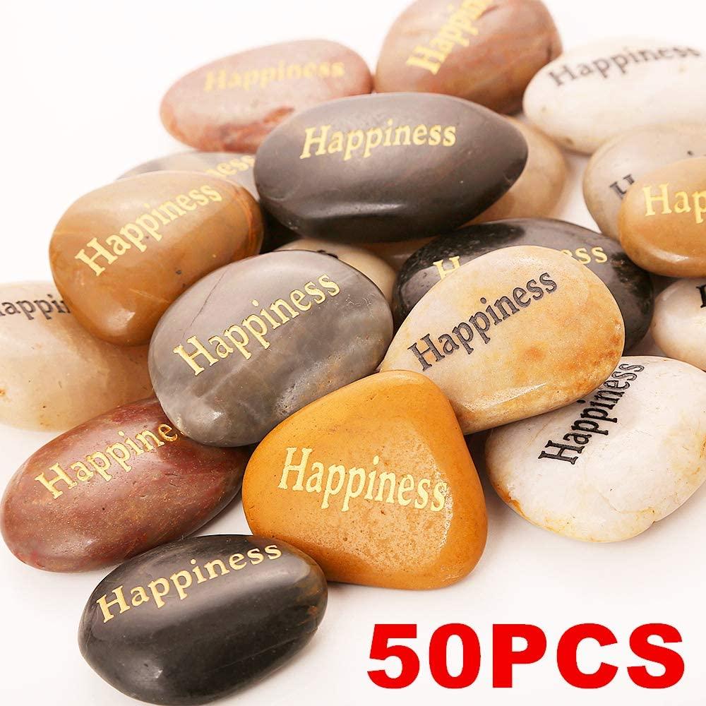 RockImpact 50PCS Happiness Happiness Stones Engraved Rocks Inspirational Gifts Stones Bulk Love Cherished Prayer Stones Zen Chakra Stones Encouragement Rocks Wholesale Happiness Rock, 2