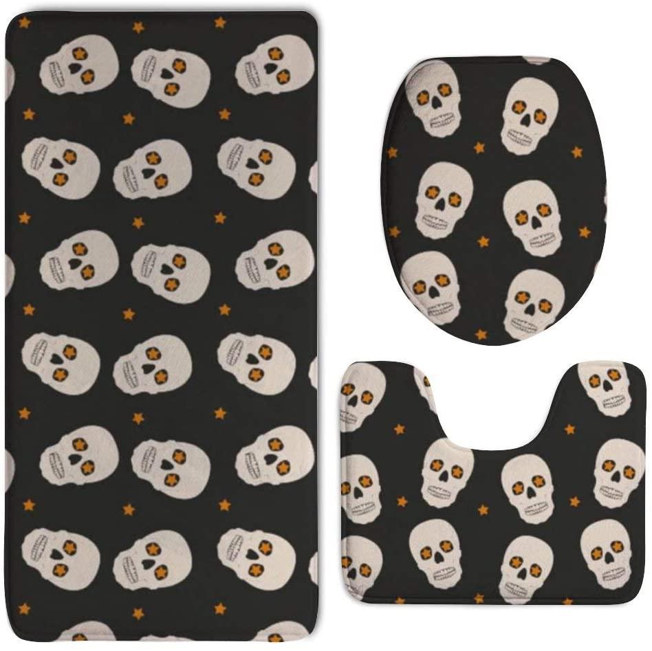 NiYoung Halloween Skull 3 Pack Luxury Memory Foam Tub-Shower Bath Rug Set Non Slip Rubber Backing Fast Dry - Super Absorbent Plush Carpet Mats Contour Mat & Lid Cover