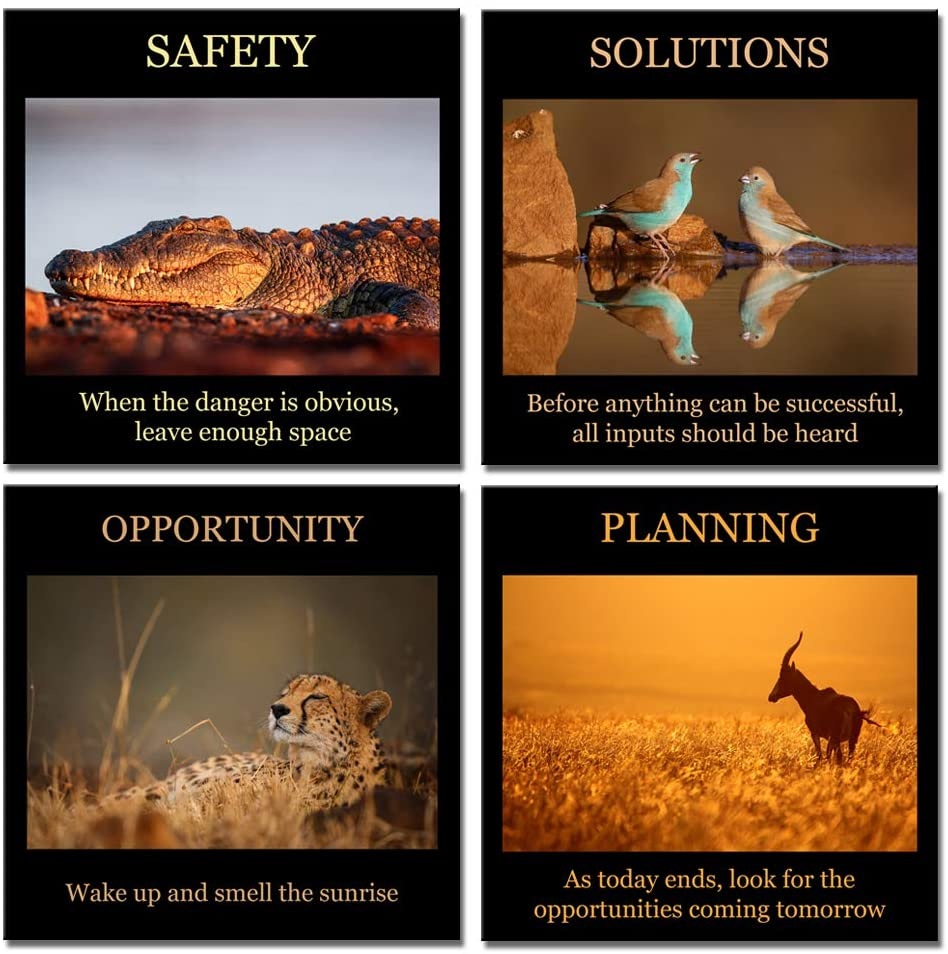 Biuteawal- 4 Piece Artwork Canvas Quotes Wall Art Motivational Motto Inspirational Success Teamwork Poster Print Stretched Wood Framed Combine Animal Pictures for Home Office Decor 12x12inchx4pcs