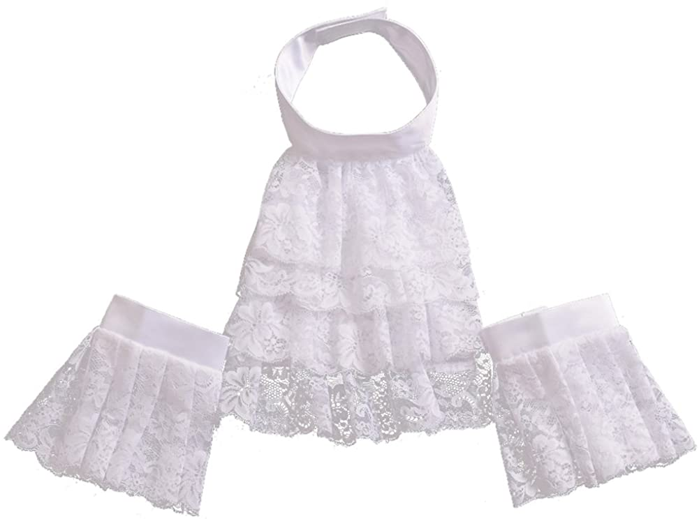 BLESSUME Colonial Lace Jabot Cuffs Set Costume Accessory