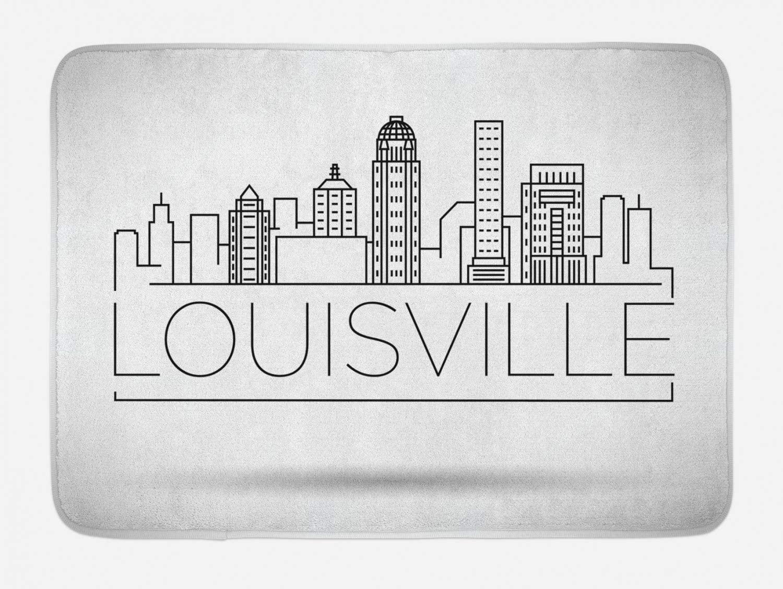 Lunarable Kentucky Bath Mat, Minimalist Buildings of Louisville City Greyscale Typographic Illustration, Plush Bathroom Decor Mat with Non Slip Backing, 29.5