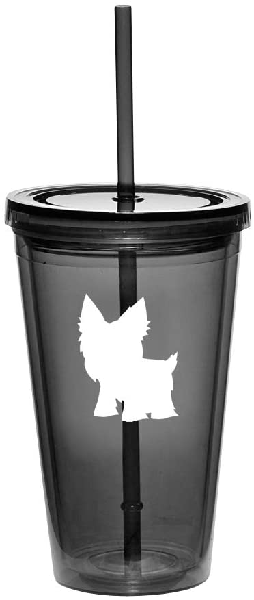 16oz Double Wall Acrylic Tumbler Cup With Straw Yorkie (Black)