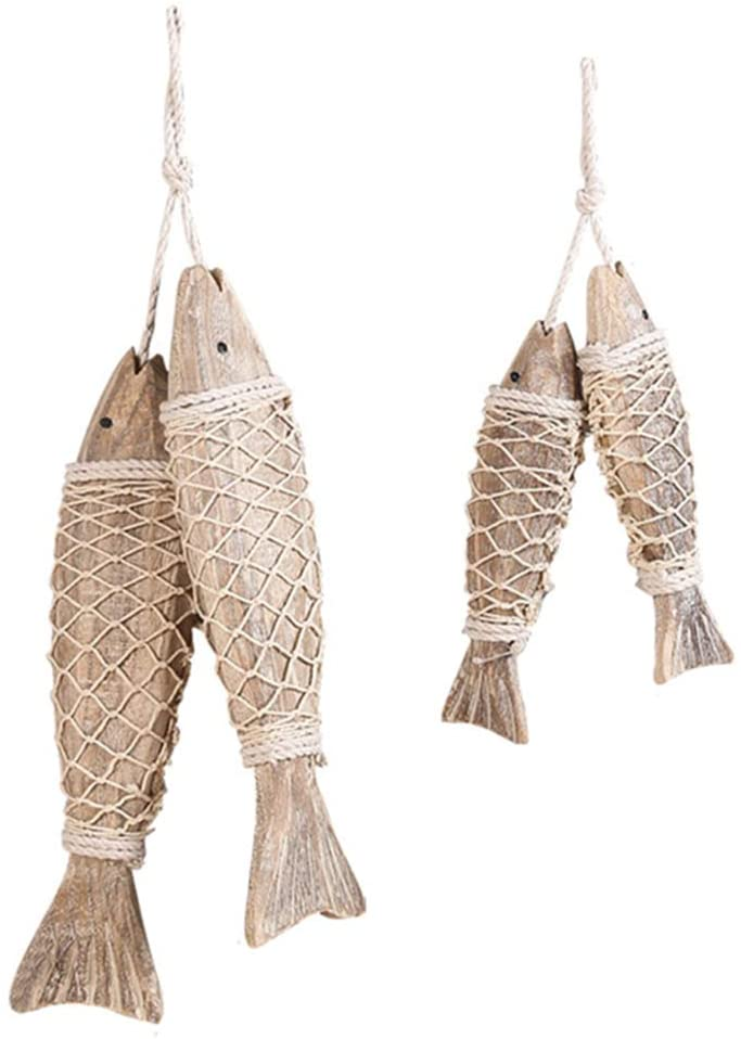 Beach Decor Wood Fish Vintage Wood Fish Decor Wall Hanging Ornament Wooden Fish Decorations for Home Bathroom Nautical Theme 4 Pieces