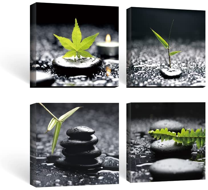 SUMGAR Framed Wall Art Bathroom Black and White Canvas Paintings Green Pictures Zen Stone Spa 4 Piece,12x12 in