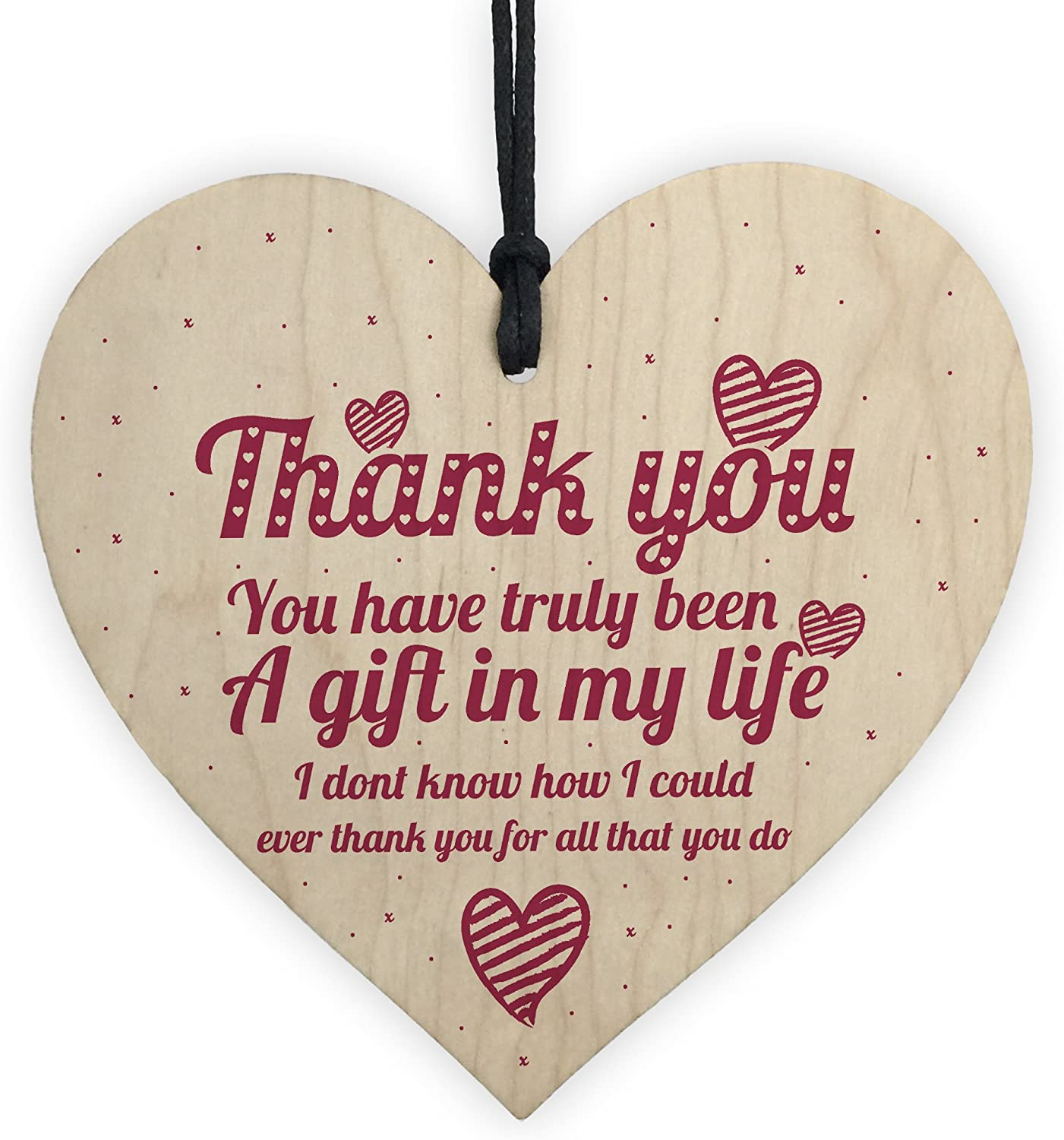 XLD Store Thank You Gift Colleague Teacher Mentor Nursery Nurse Friendship Wooden Hanging Heart Plaque Gift