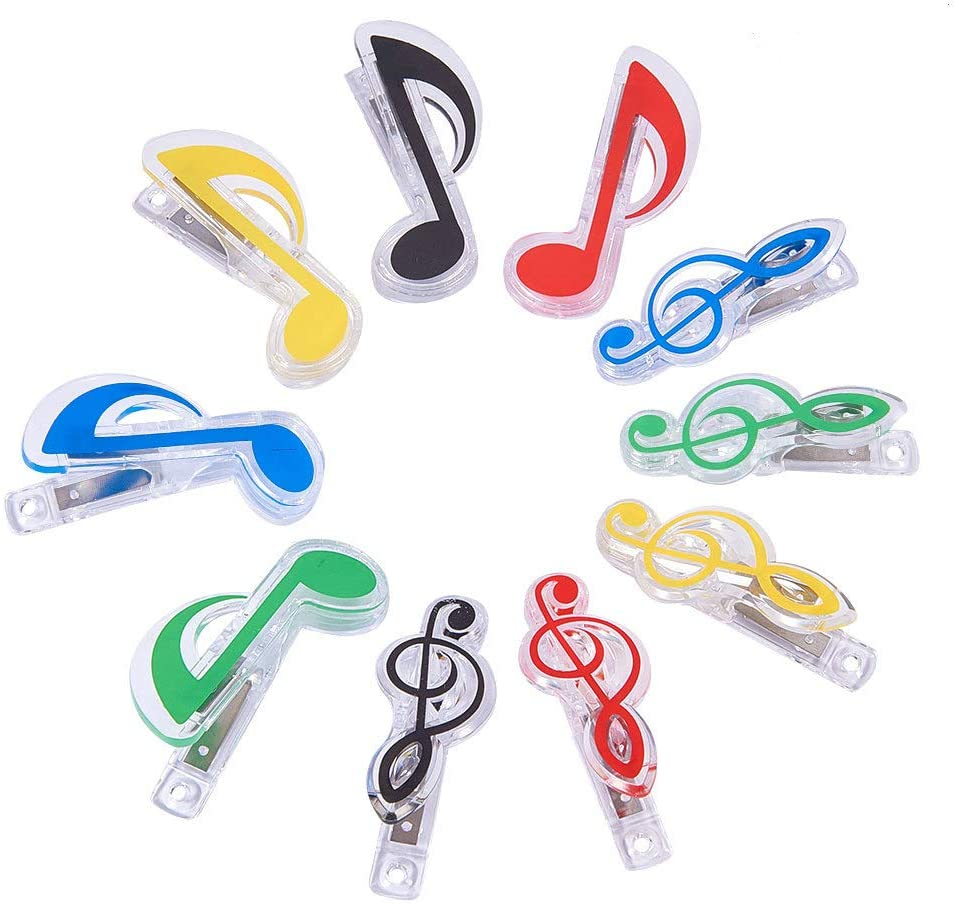 WANDIC 10 Pcs Music Note Shape Music Sheet Clip, Mixed Color and Shape Plastic Book Page Clip Notes Stationery Files Archive Folder Instrumental Tool