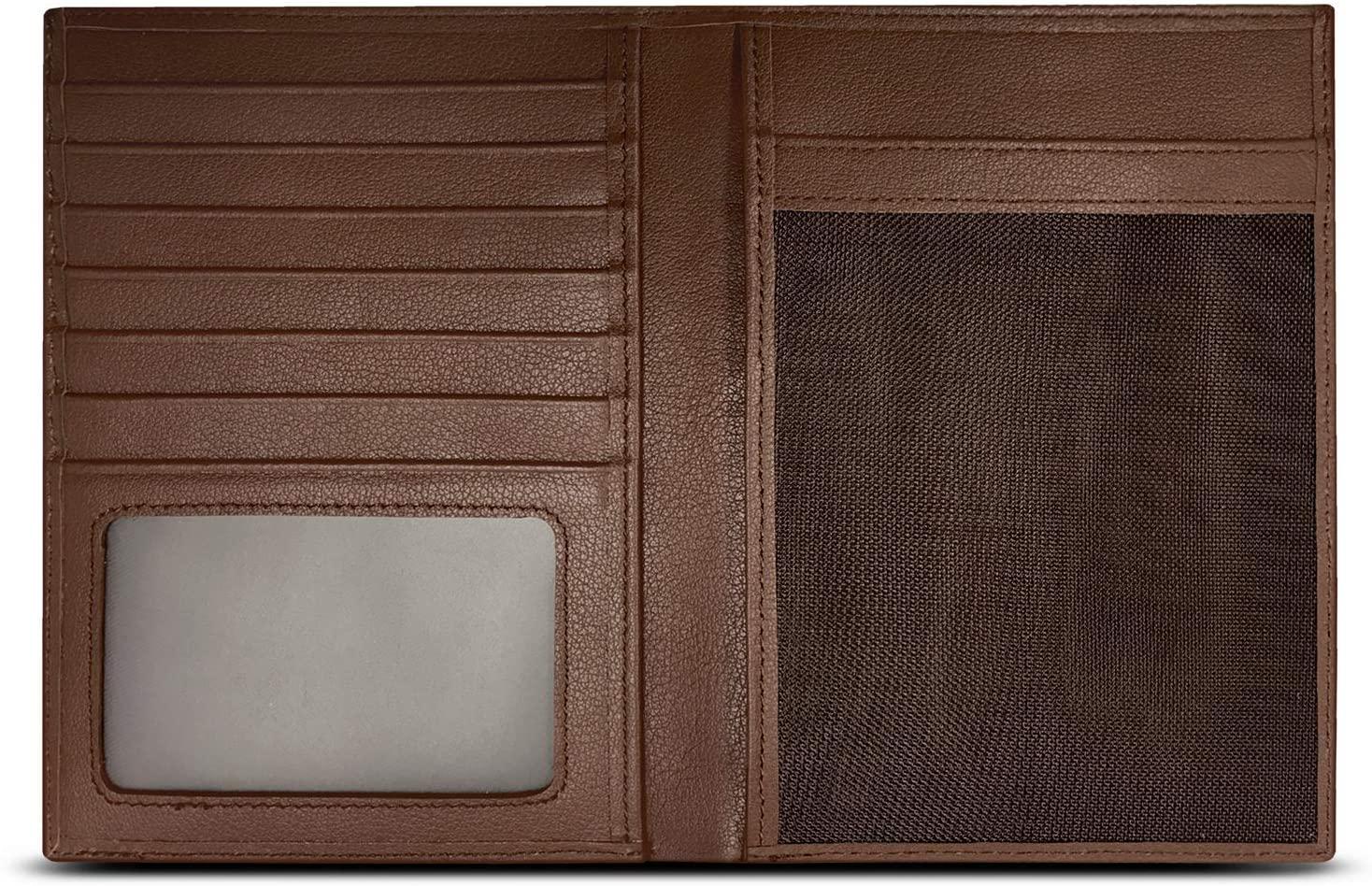 RFID Blocking Leather Passport Holder For Men and Women - Brown