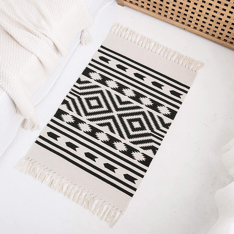 Styled World Cotton Boho Rug with Rug Pad | 2'x3' Printed Bohemian Throw Rug with Tassels | Bathroom, Bedroom, Entryway, Kitchen | Black&Cream Rhombus