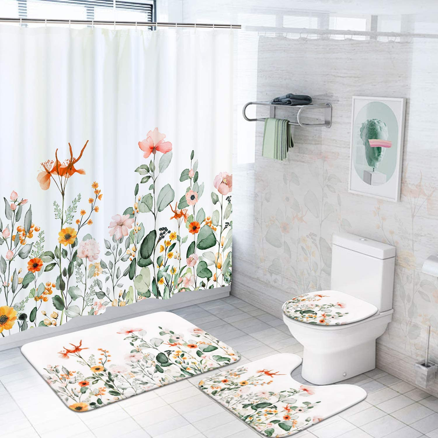 Pknoclan 4 Pcs Boho Floral Shower Curtain Set with Non-Slip Rugs, Toilet Lid Cover and Bath Mat, Plants Colorful Flowers Shower Curtain with 12 Hooks, Waterproof Watercolor Boho Bath Curtain