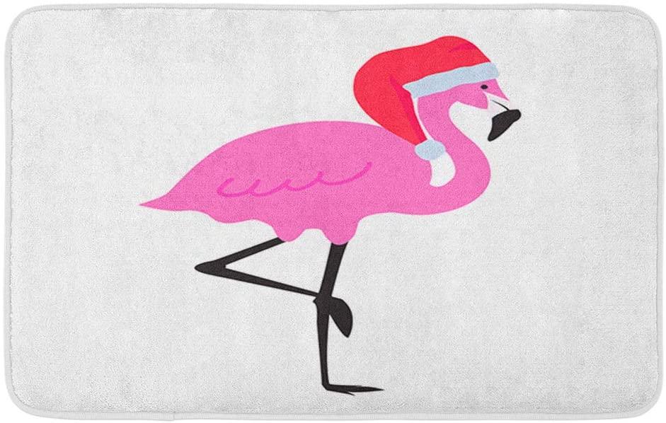 Adowyee Bath Mat Christmas Flamingo with Santas Hat Xmas Art Bird Bright Celebration Collection Cozy Bathroom Decor Bath Rug with Non Slip Backing 20 X 30