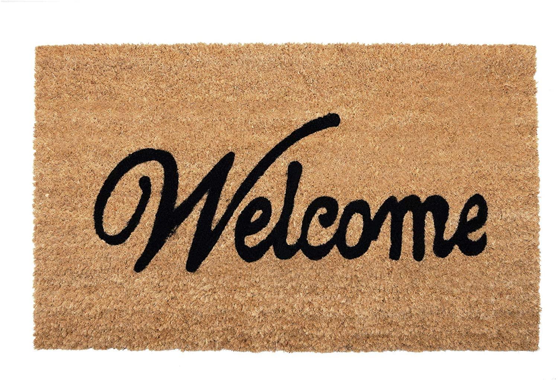 NIKKY HOME Coir Doormat Non Slip Front Door Mat with Word Welcome - 18