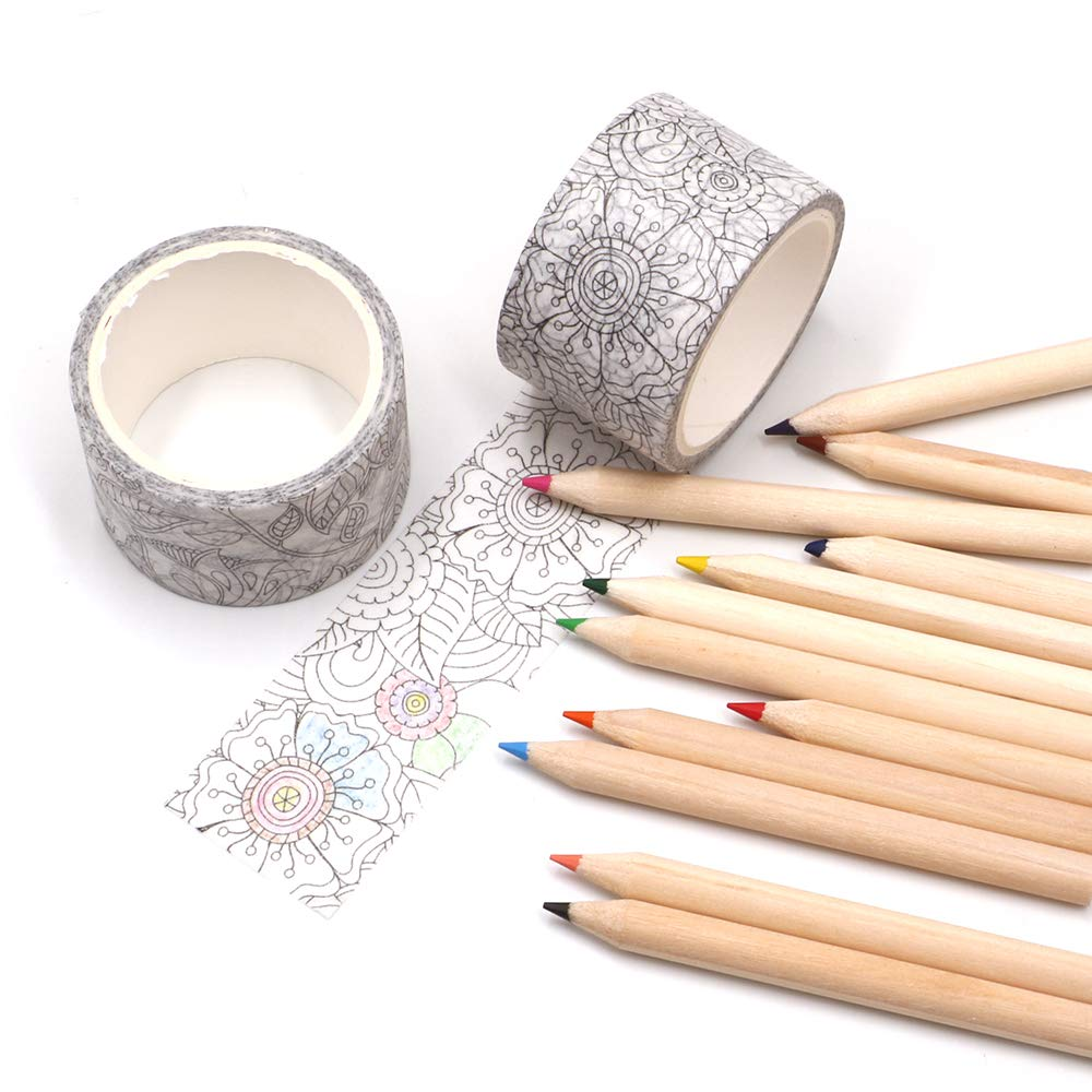 Manzawa Drawing Washi Tape Set of 2 Rolls, Wide 30mmx5m Withe Washi Tape,Thick Core Colored Pencils, 2.5 Millimeter Cores, Assorted Colors, 12 Count