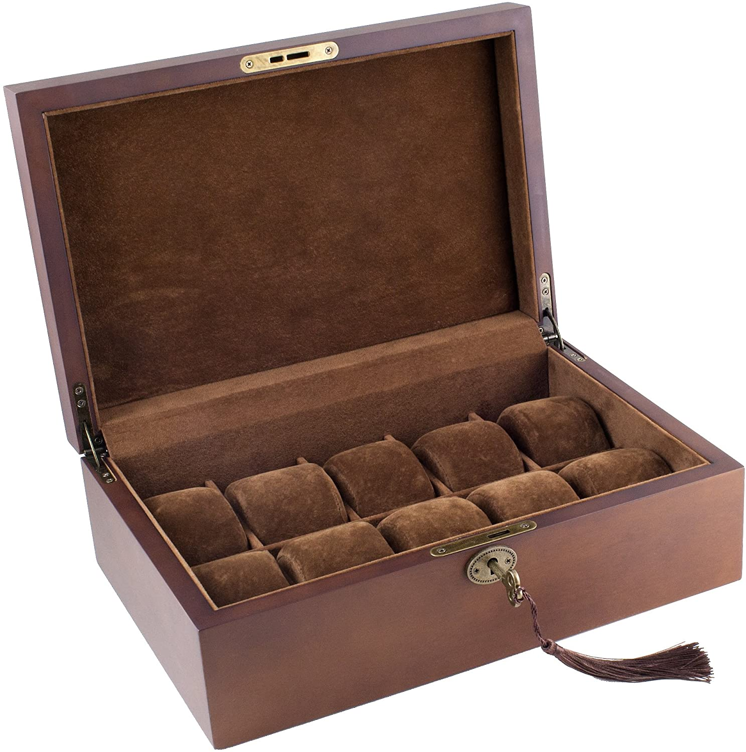 Wood Watch Box Display Storage Case Chest with Solid Top Holds 10 Watches with Adjustable Soft Pillows by Caddy Bay Collection