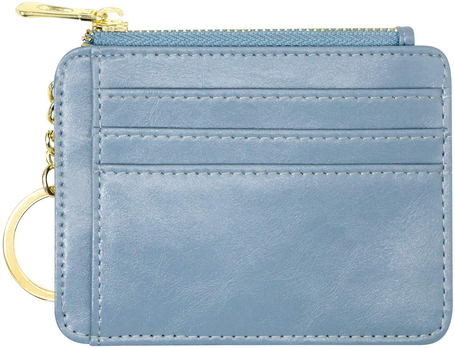 Padike Womens Slim Credit Card Holder Mini Front Pocket Wallet Coin Purse Keychain (Azure)