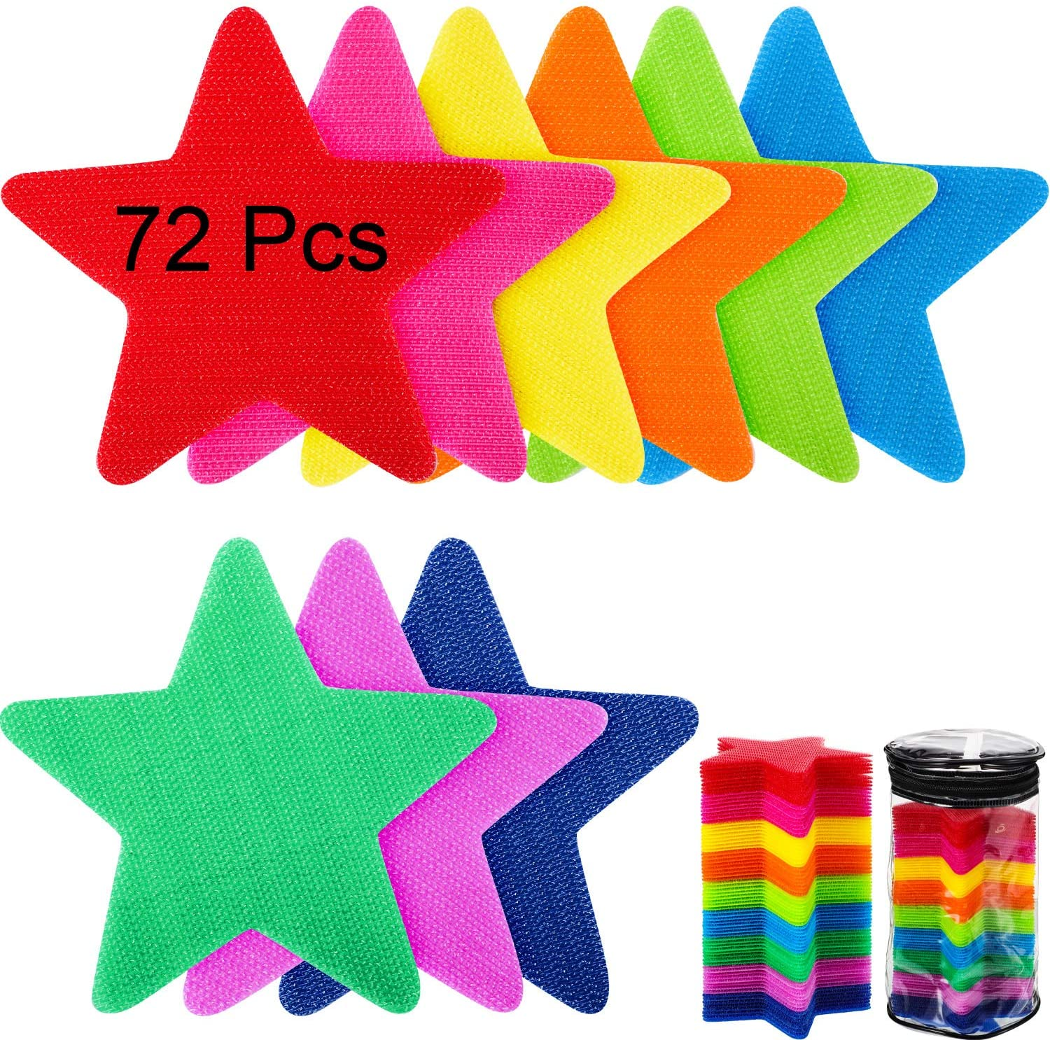 WILLBOND 72 Pieces Star Shape Carpet Spot Markers 4 Inch Carpet Spot Sit Markers Floor Markers with 9 Color Classroom Spot Markers for Preschool, Kindergarten and Sport