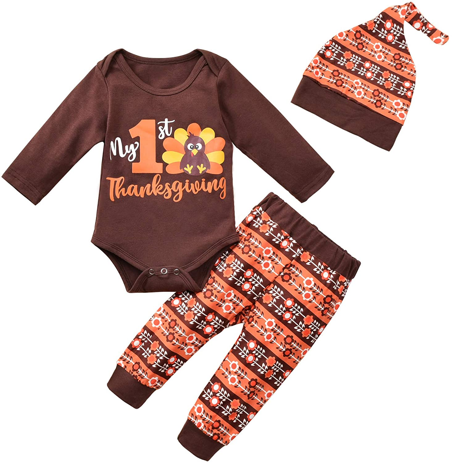 Baby Boy Thanksgiving Outfit Set Infant Baby Romper Bodysuit Pants Hat Thanksgiving Clothes Set 3PCS