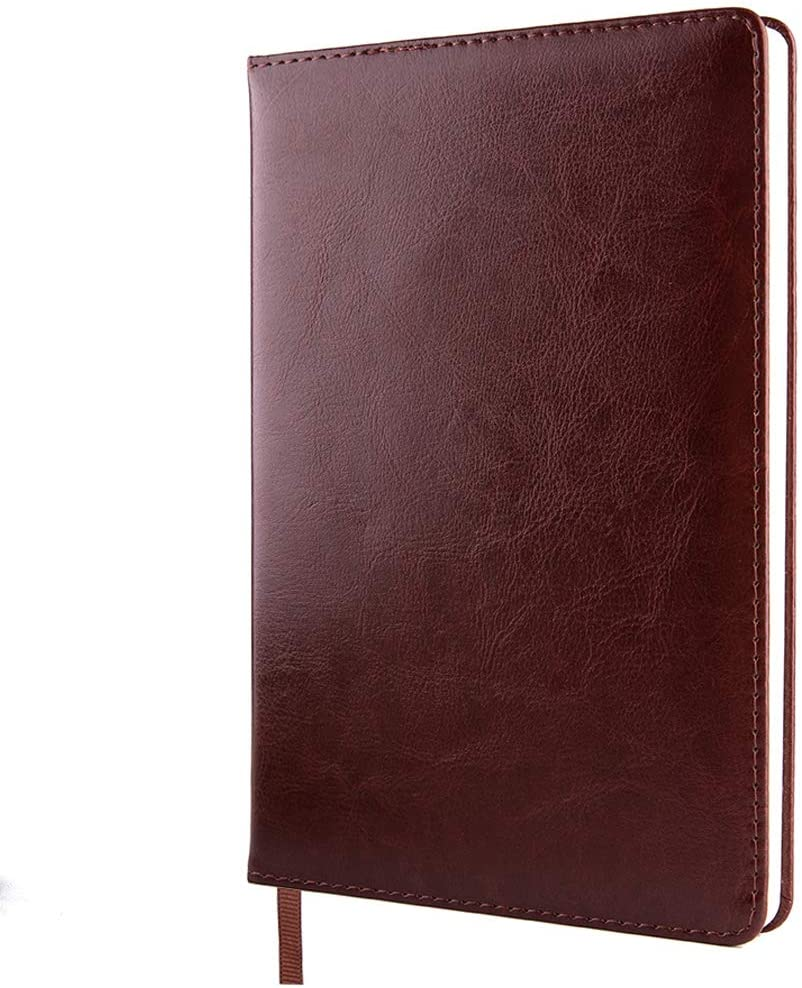 Classic Lined Wide Ruled Vegan Leatherette Hard Cover Journal A5 Size 5.7 x 8.4 inches Thick Paper Lay Flat Large Composition Wirting Notebook(Brown)