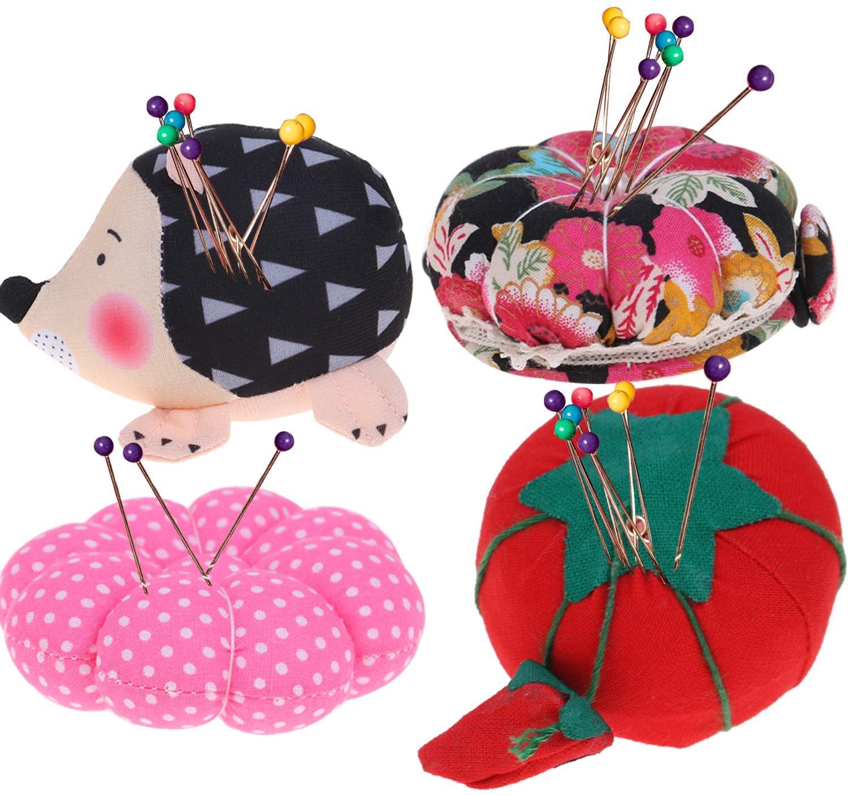 JETTINGBUY 4 Pieces Wrist Strap Pin Cushions Wrist Pin Cushions Sewing Adjustable Elastic Band Pincushion Cute Hedgehog Shape Pin Cushion