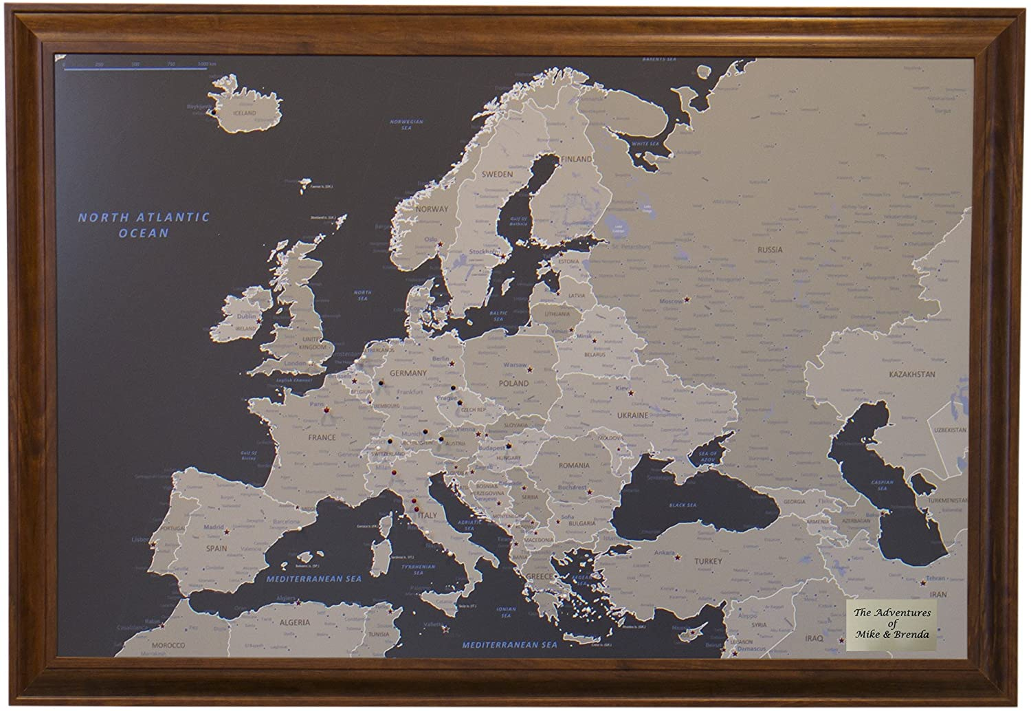 Push Pin Travel Maps Personalized Earth Toned Europe with Brown Frame and Pins - 27.5 inches x 39.5 inches