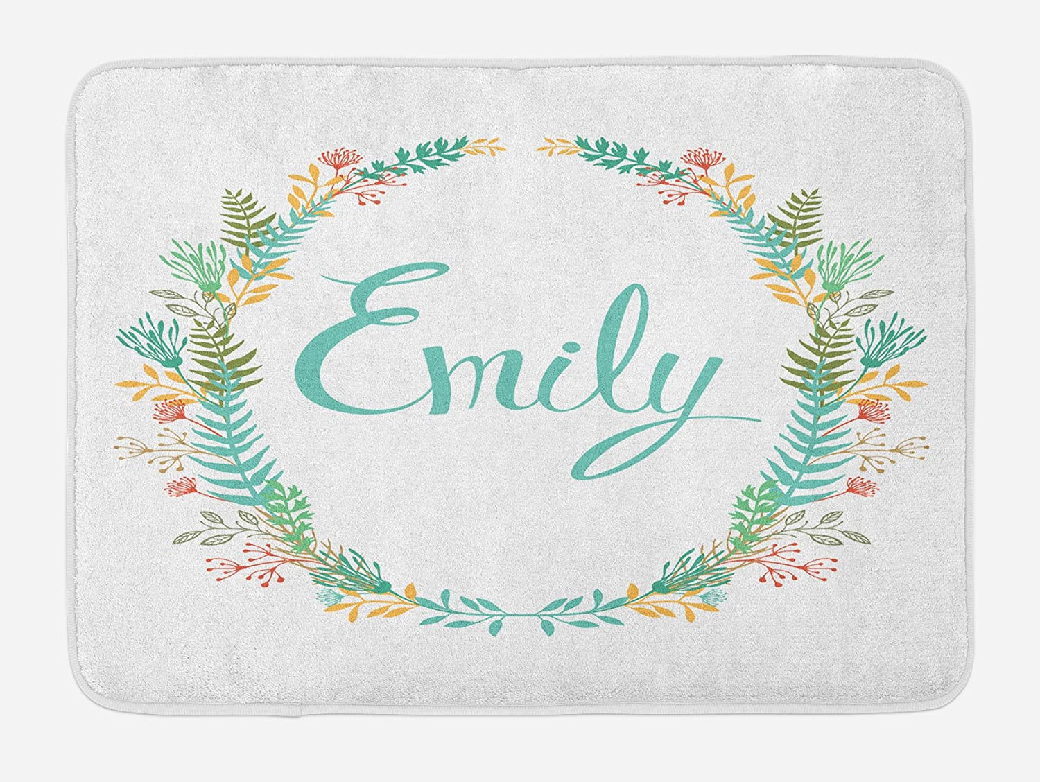 Ambesonne Emily Bath Mat, Composition of Popular English Girl Name with Vintage Design Inspirations Leaves, Plush Bathroom Decor Mat with Non Slip Backing, 29.5