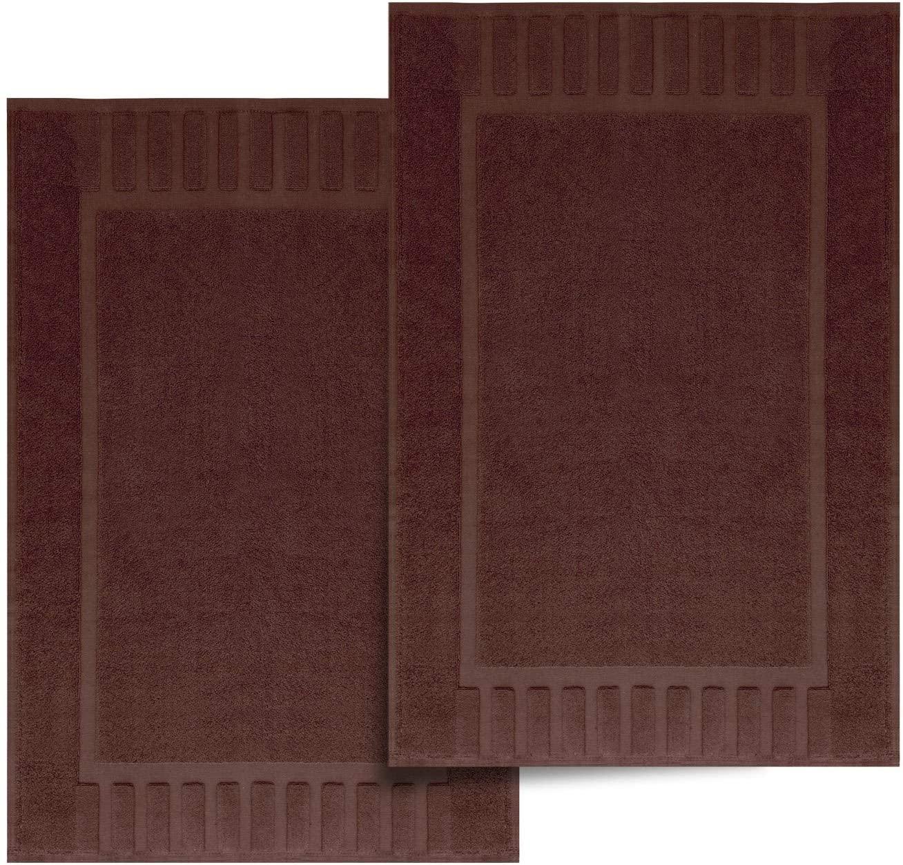 White Classic Luxury Bath Mat Floor Towel Set - Absorbent Cotton Hotel Spa Shower/Bathtub Mats [Not a Bathroom Rug] 22
