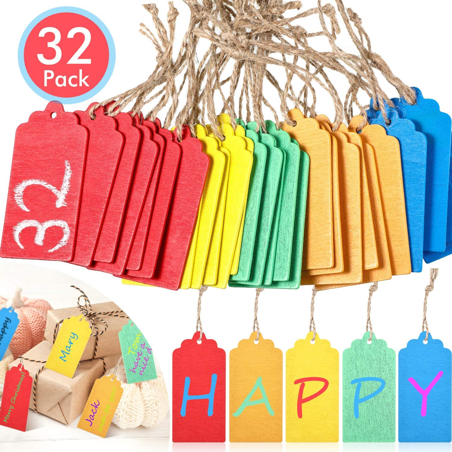 32 Pieces Hanging Chalkboard Tags Mini Chalkboard Signs Double Side Hang Chalkboard Labels Message Tags Chalkboard Labels for Storage Bins, 5 Colors